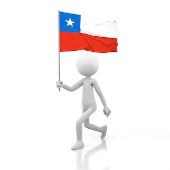 Mały człowiek chodzący z flagą chile w dłoni. obraz renderowania 3d