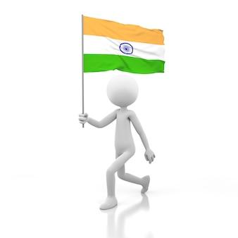 Mały człowiek chodzący z flagą indii w dłoni. obraz renderowania 3d
