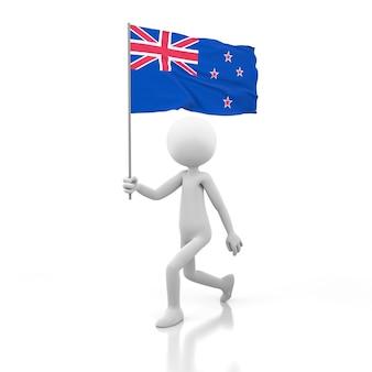 Mały człowiek chodzący z flagą nowej zelandii w dłoni. obraz renderowania 3d