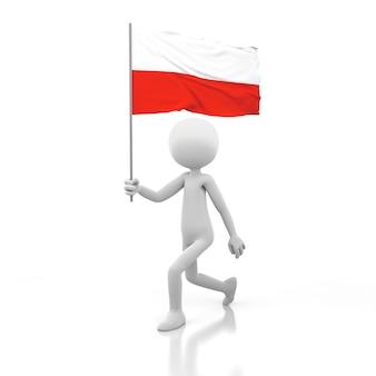 Mały człowiek chodzący z flagą polski w dłoni. obraz renderowania 3d