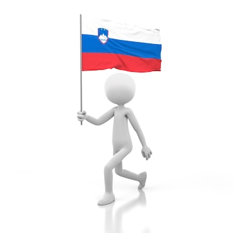 Mały człowiek chodzący z flagą słowenii w dłoni. obraz renderowania 3d