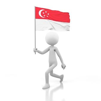 Mały człowiek idący z flagą singapuru w dłoni. obraz renderowania 3d