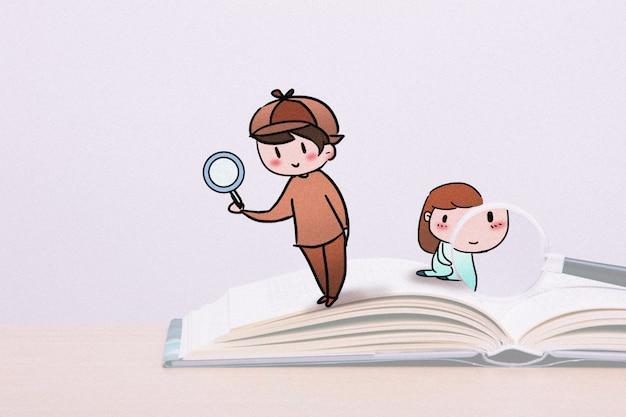 Mały detektyw: mieszana ilustracja kreatywnej fotografii