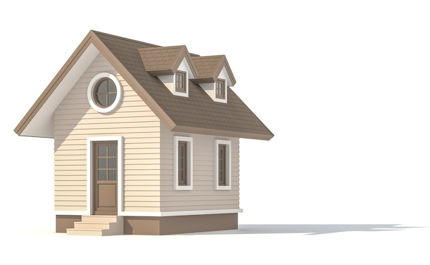 Mały dom na białym tle ze ścieżką przycinającą renderowania 3d