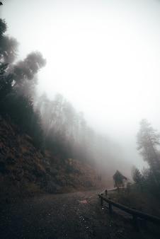 Mały dom w mglistej drodze