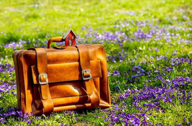 Mały domek i walizka są na łące z fioletowymi kwiatami wiosną