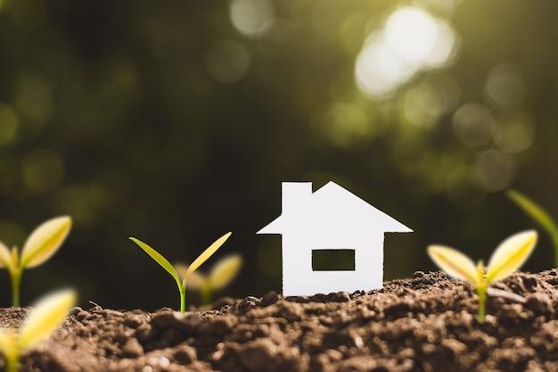 Mały domek z białego papieru stoi na żyznej ziemi z rosnącymi sadzonkami, myśląc o posiadaniu celów i marzeń.