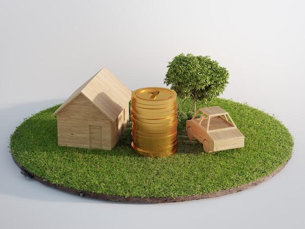 Mały domek z małym samochodem na ziemi i zielonej trawie
