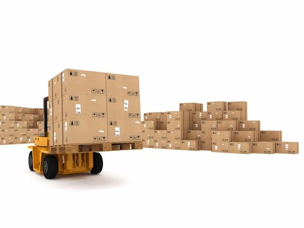 Mały dźwig załadunkowy stosu zapakowanych pudełek
