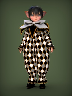 Mały elf klauna w czarno-białym garniturze 3d ilustracji