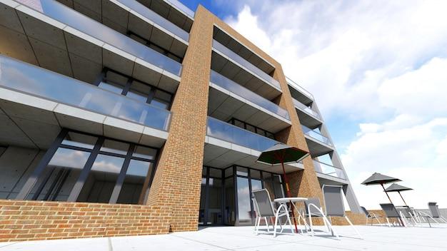 Mały funkcjonalny kondominium z zamkniętym terenem, garażem i basenem. obszar z parasolami do wypoczynku w ciepłe dni. letni słoneczny dzień z małymi chmurami