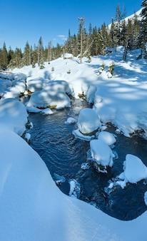 Mały górski potok z zaspy śnieżne na brzegach i dla drzew na zboczu.