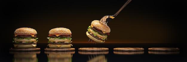 Mały hamburger utknął w widelcu koncepcja odpowiedniego odżywiania renderowania 3d