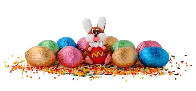 Mały króliczek i czekoladowe jajka w opakowaniu z folii samodzielnie na białym tle