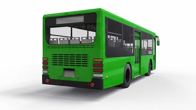 Mały miastowy zielony autobus na białym tle. renderowania 3d.