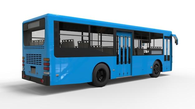 Mały miejski niebieski autobus na białym tle