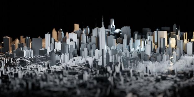 Mały model miasta nowy jork miasto zabawki miasto dekoracje budynków wieżowiec widok z lotu ptaka ilustracja 3d
