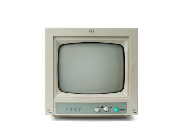 Mały monitor retro szary na białym tle na białym tle.