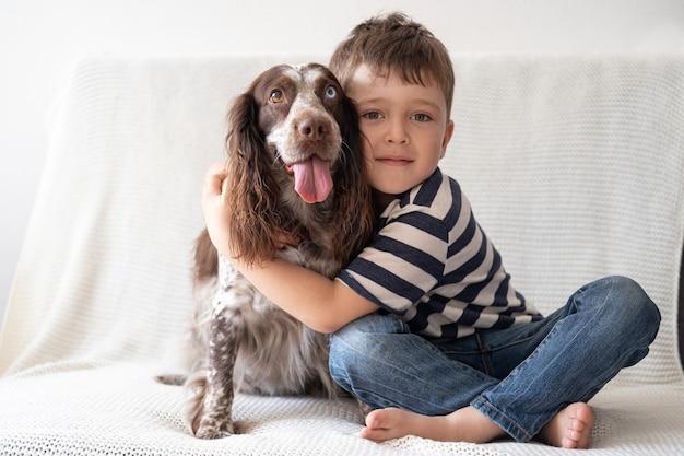 Mały śliczny chłopiec objąć psa spaniel rosyjski czekoladowe merle różne kolory oczu. usiądź na kanapie.