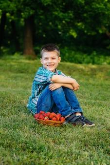 Mały słodki chłopiec siedzi z dużym pudełkiem dojrzałych i pysznych truskawek. żniwa. dojrzałe truskawki jagody naturalne i pyszne.