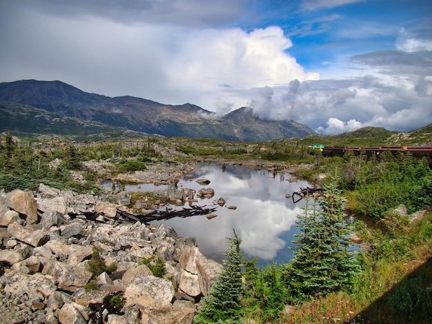 Mały staw otoczony górami i zielenią pod błękitnym pochmurnym niebem - idealny na tapety