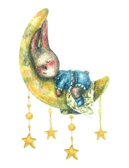 Mały szary króliczek w niebieskiej piżamie śpi na ilustracji księżyca