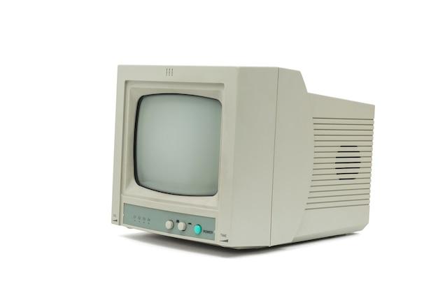 Mały szary monitor na białym tle. wyposażenie retro.