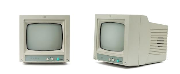Mały szary monitor z boku iz przodu na białym tle.