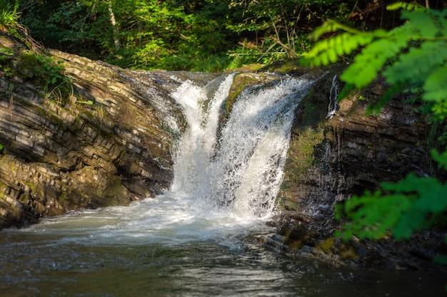 Mały wodospad górski w karpatach w słoneczny letni dzień