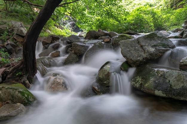Mały wodospad i kamienie w chłodnej dolinie