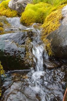 Mały wodospad w północnej syberii. terytorium krasnojarska.