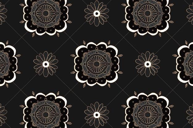 Mandala czarny kwiatowy indyjski wzór tła