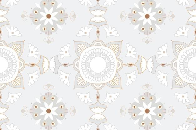 Mandala szary kwiatowy indyjski wzór tła