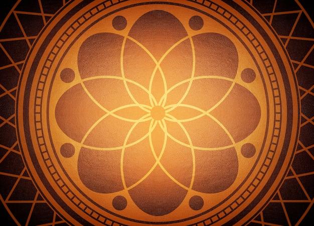 Mandala z cegły ściany tekstury, ciemne tło