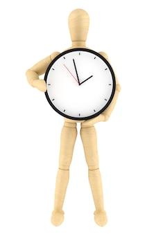 Manekin artysty z zegarem na białym tle