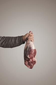 Mans ręka w szarym swetrze trzyma islandzkiego surowego mięsa jagnięcego mięsa nogi, odizolowane na szarym białym tle. dieta paleo, żywność ekologiczna.