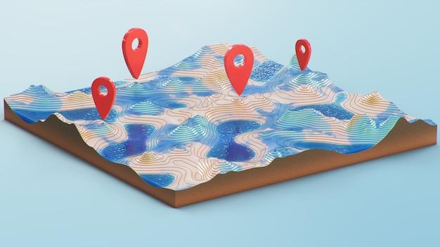 Mapa 3d przekroju z czerwonymi znacznikami punktowymi