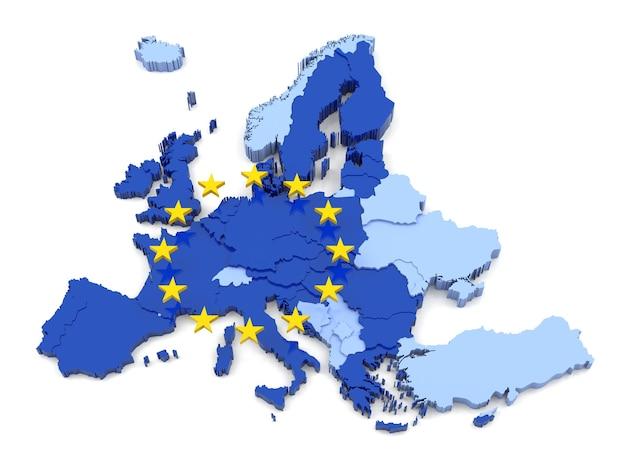 Mapa 3d unii europejskiej z flagą zawiera wszystkie 27 krajów