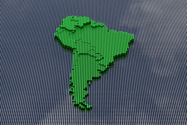 Mapa ameryki południowej w stylu pixel art. renderowanie 3d