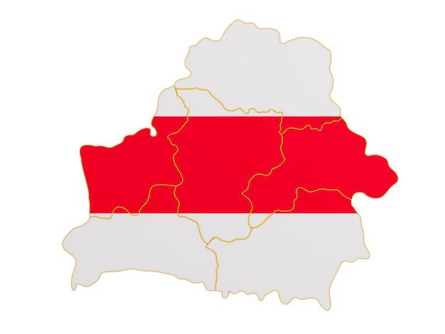 Mapa białorusi na białym tle. ilustracja na białym tle 3d