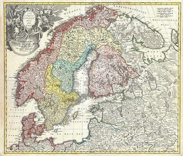 Mapa dania szwecja finlandia skandynawia norwegia