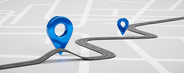 Mapa drogowa symbolu ikony pinezki niebieskiej lub znacznika nawigacji trasy podróży gps i miejsca transportu wskaźnik kierunku znak uliczny na tle miasta z sposobem docelowym transportu. renderowania 3d.