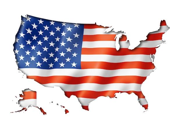 Mapa flaga stanów zjednoczonych