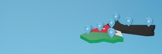 Mapa jordanii 3d ze znacznikiem mediów społecznościowych