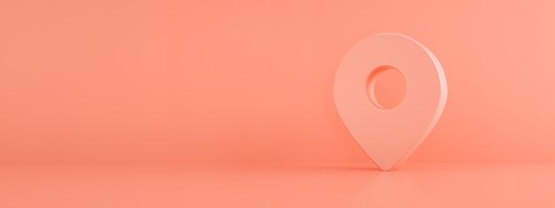 Mapa pin lokalizacji 3 d render na różowym tle, symbol nawigacji, panoramiczny obraz makiety