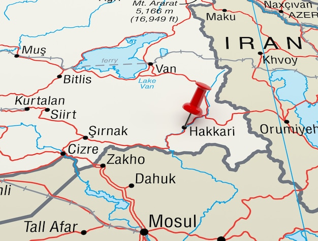 Mapa przedstawiająca hakkari, turcja z czerwoną szpilką. renderowanie 3d