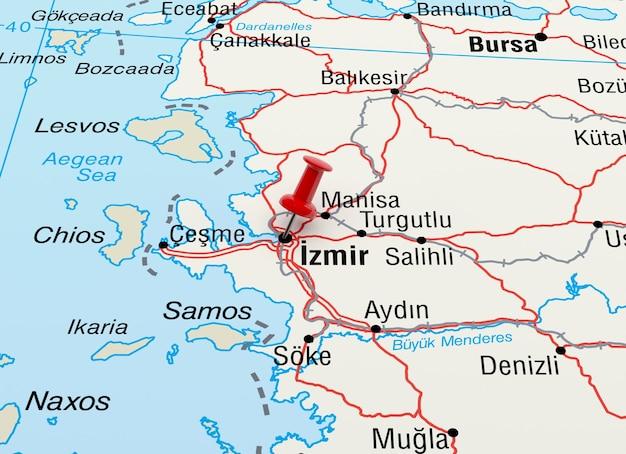 Mapa przedstawiająca izmir w turcji z czerwoną szpilką. renderowanie 3d