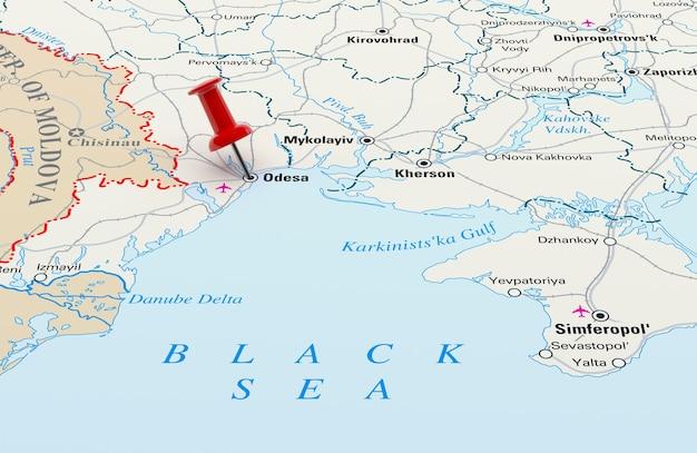 Mapa przedstawiająca odessę na ukrainie z czerwoną szpilką. renderowanie 3d