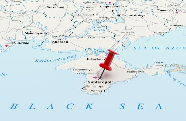 Mapa przedstawiająca sewastopol na ukrainie z czerwoną szpilką. renderowanie 3d