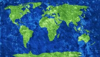 Mapa świata grunge ziarno